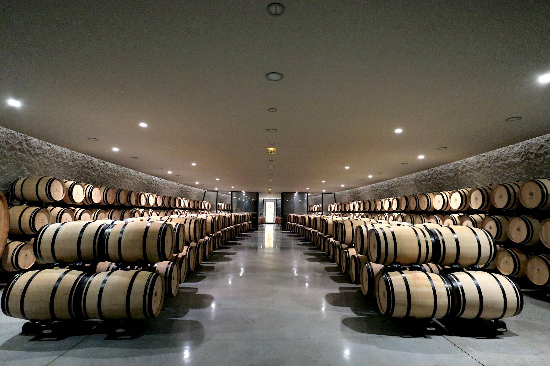 Château Les Carmes Haut Brion. Der neue Weinkeller erstreckt sich über drei Stockwerke, einem unterirdischem für die Lagerung von bis zu 300 Holzfässer ...